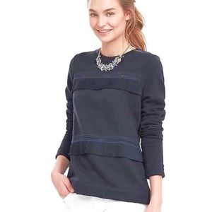 BANANA REPUBLIC Tiered Ruffle Pullover in Navy